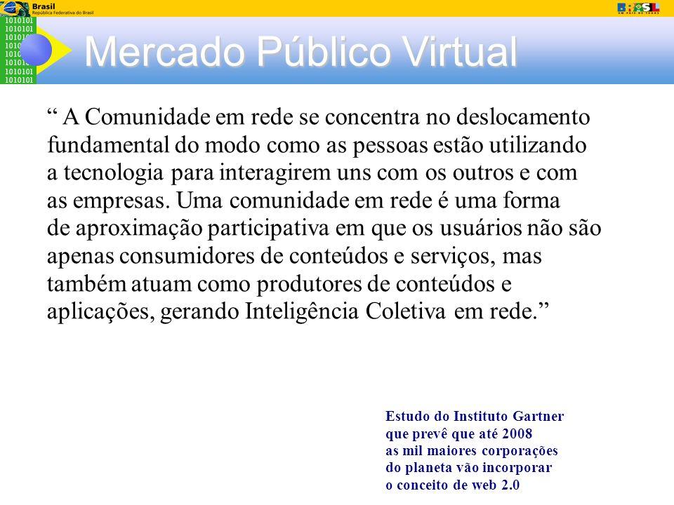 1010101 Mercado Público Virtual A Comunidade em rede se concentra no deslocamento fundamental do modo como as pessoas estão utilizando a tecnologia pa
