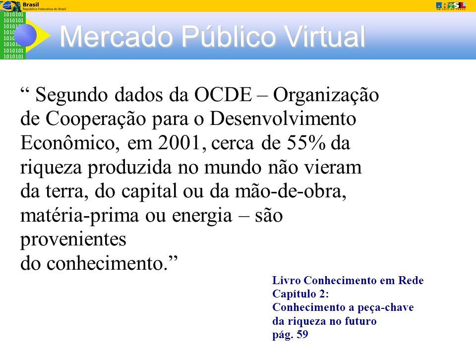 1010101 Mercado Público Virtual Segundo dados da OCDE – Organização de Cooperação para o Desenvolvimento Econômico, em 2001, cerca de 55% da riqueza p
