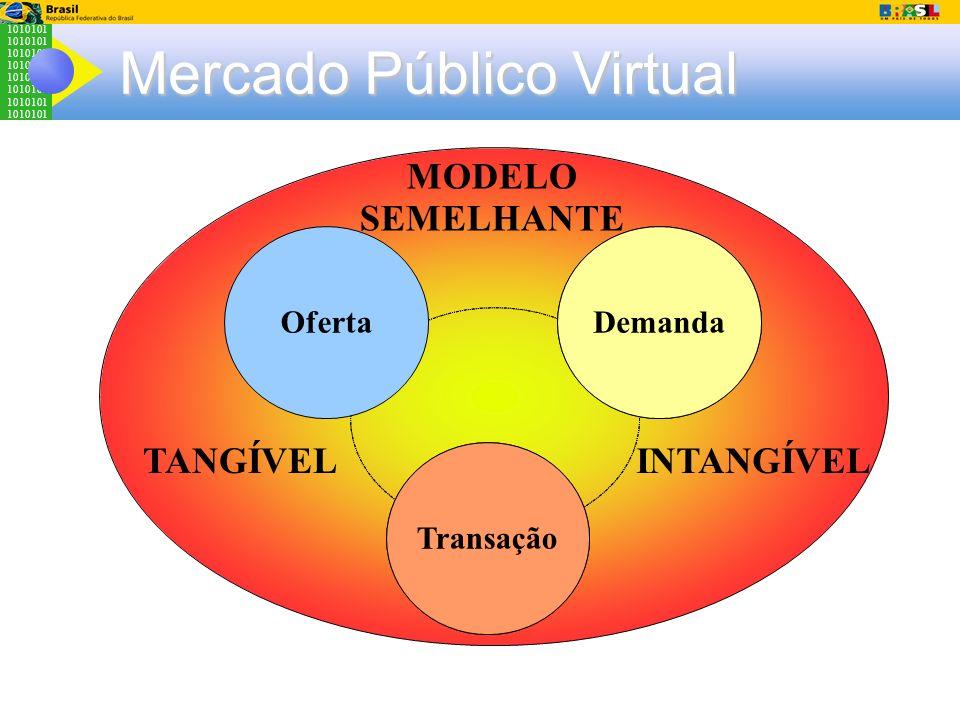 1010101 Mercado Público Virtual Cultura Organizacional Sistemas Legados Demanda Transação Oferta MODELO SEMELHANTE TANGÍVELINTANGÍVEL