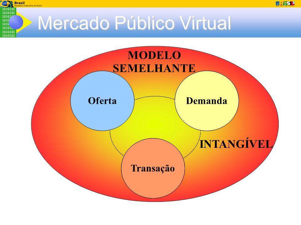 1010101 Mercado Público Virtual Cultura Organizaciona l Sistemas Legados Demanda Transação Oferta MODELO SEMELHANTE INTANGÍVEL