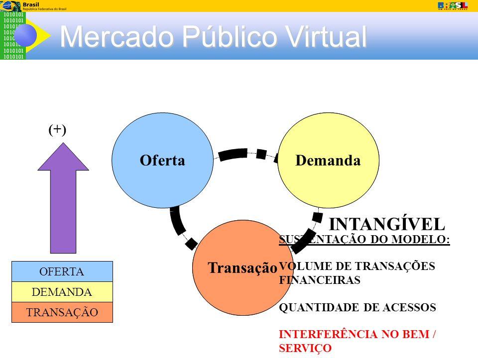 1010101 Mercado Público Virtual Cultura Organizaciona l Sistemas Legados Demanda Transação Oferta INTANGÍVEL OFERTA DEMANDA TRANSAÇÃO SUSTENTAÇÃO DO M
