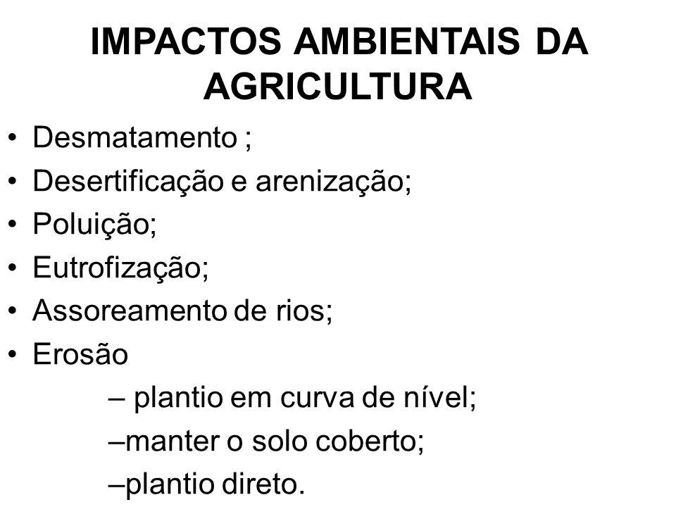 IMPACTOS AMBIENTAIS DA AGRICULTURA Desmatamento ; Desertificação e arenização; Poluição; Eutrofização; Assoreamento de rios; Erosão – plantio em curva