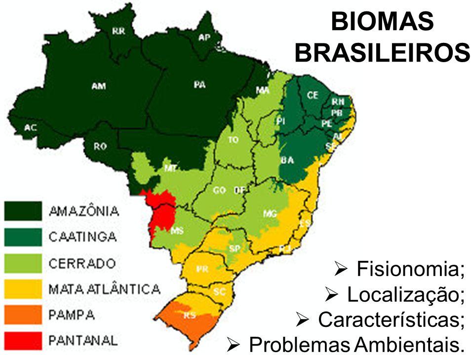 BIOMAS BRASILEIROS Fisionomia; Localização; Características; Problemas Ambientais.