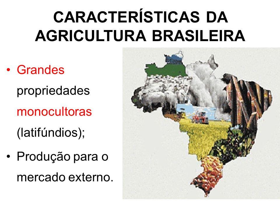 CARACTERÍSTICAS DA AGRICULTURA BRASILEIRA Grandes propriedades monocultoras (latifúndios); Produção para o mercado externo.
