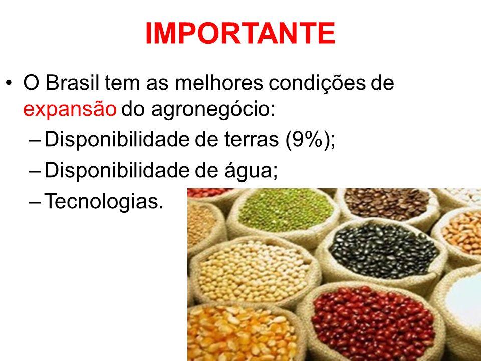 IMPORTANTE O Brasil tem as melhores condições de expansão do agronegócio: –Disponibilidade de terras (9%); –Disponibilidade de água; –Tecnologias.