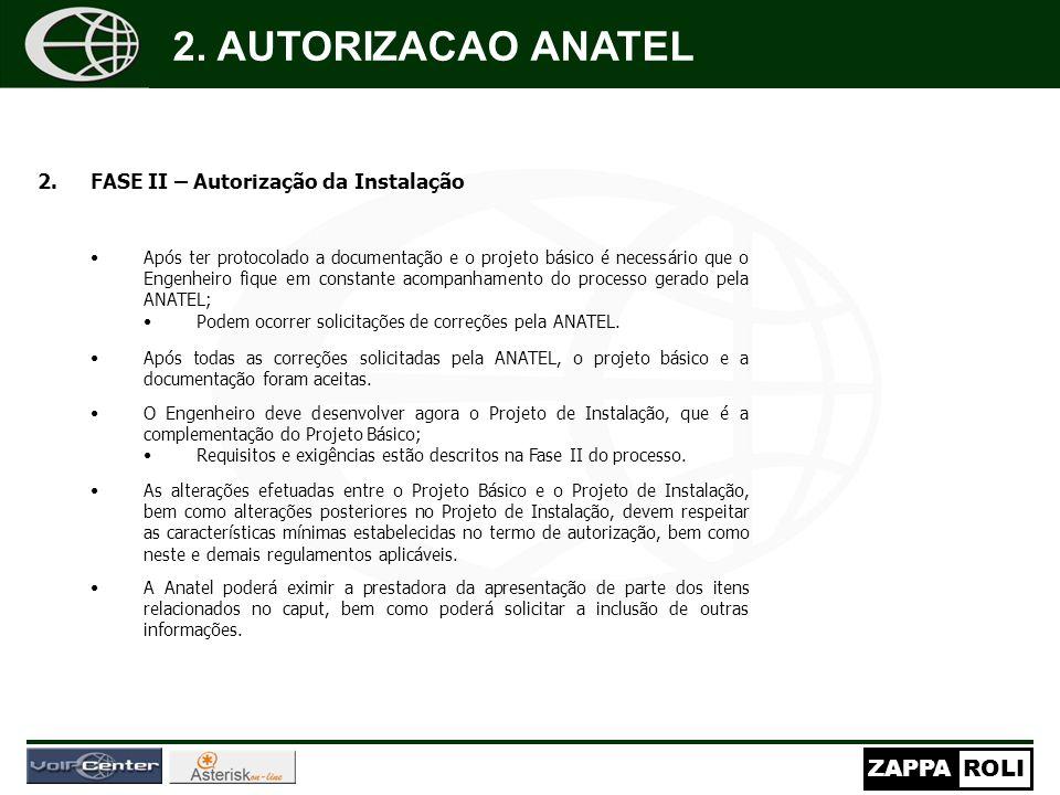 ZAPPAROLI 2.FASE II – Autorização da Instalação Após ter protocolado a documentação e o projeto básico é necessário que o Engenheiro fique em constant