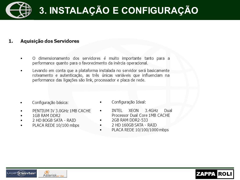 ZAPPAROLI 1.Aquisição dos Servidores O dimensionamento dos servidores é muito importante tanto para a performance quanto para o favorecimento da inérc