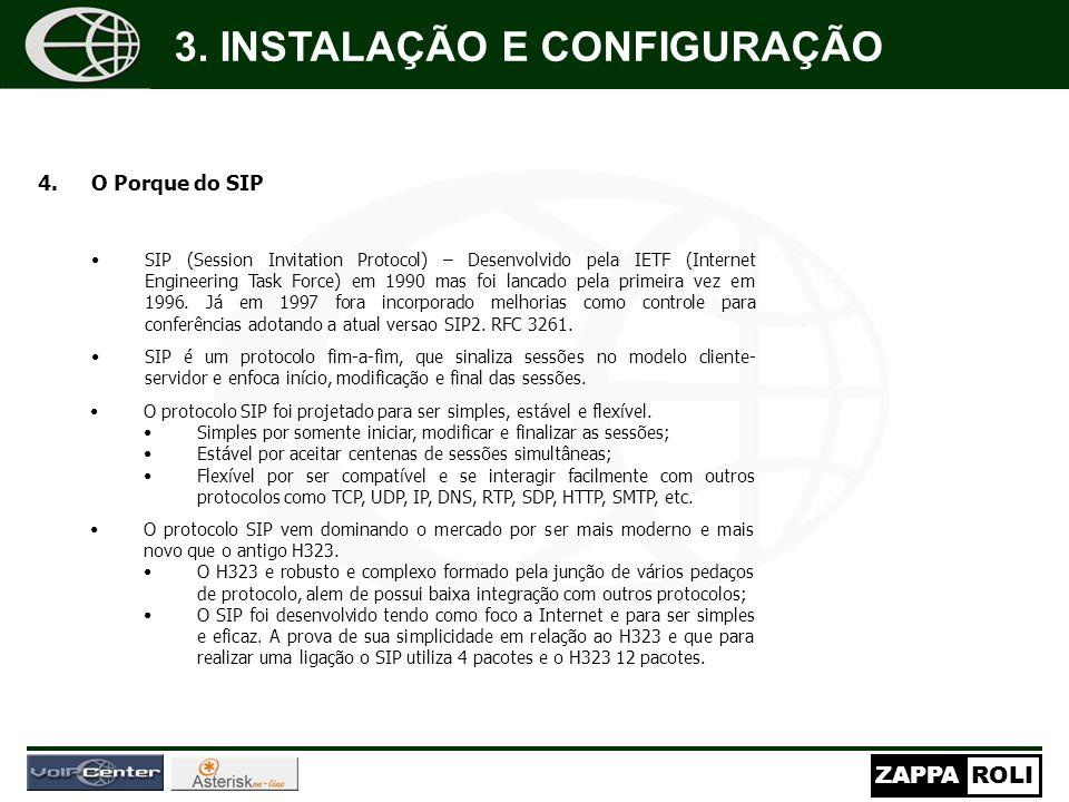 ZAPPAROLI 4.O Porque do SIP SIP (Session Invitation Protocol) – Desenvolvido pela IETF (Internet Engineering Task Force) em 1990 mas foi lancado pela