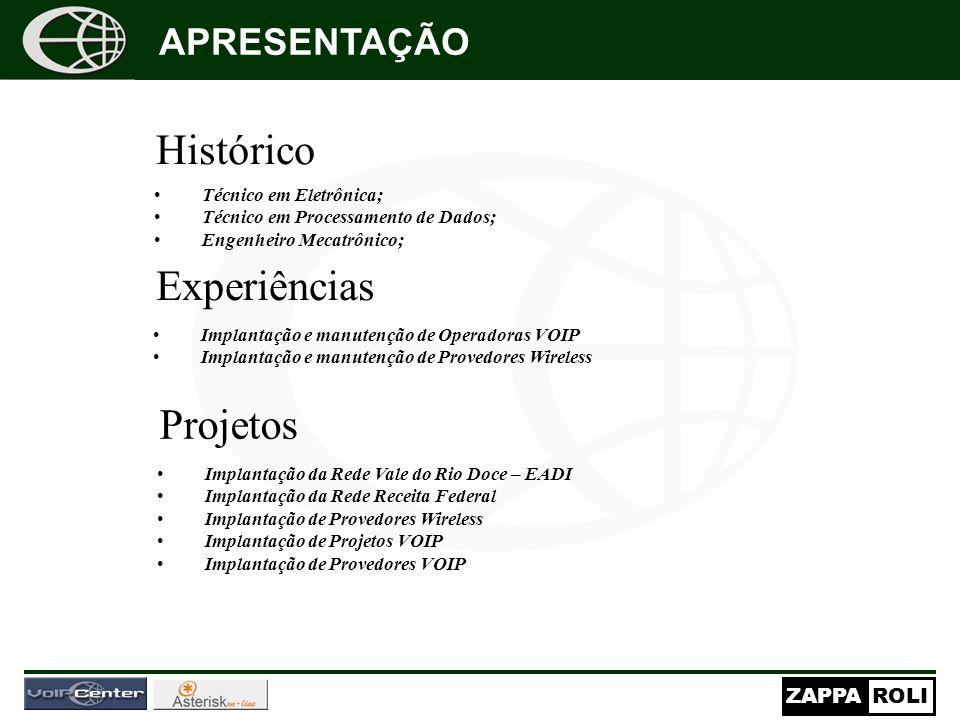 ZAPPAROLI Histórico Técnico em Eletrônica; Técnico em Processamento de Dados; Engenheiro Mecatrônico; APRESENTAÇÃO Experiências Implantação e manutenç