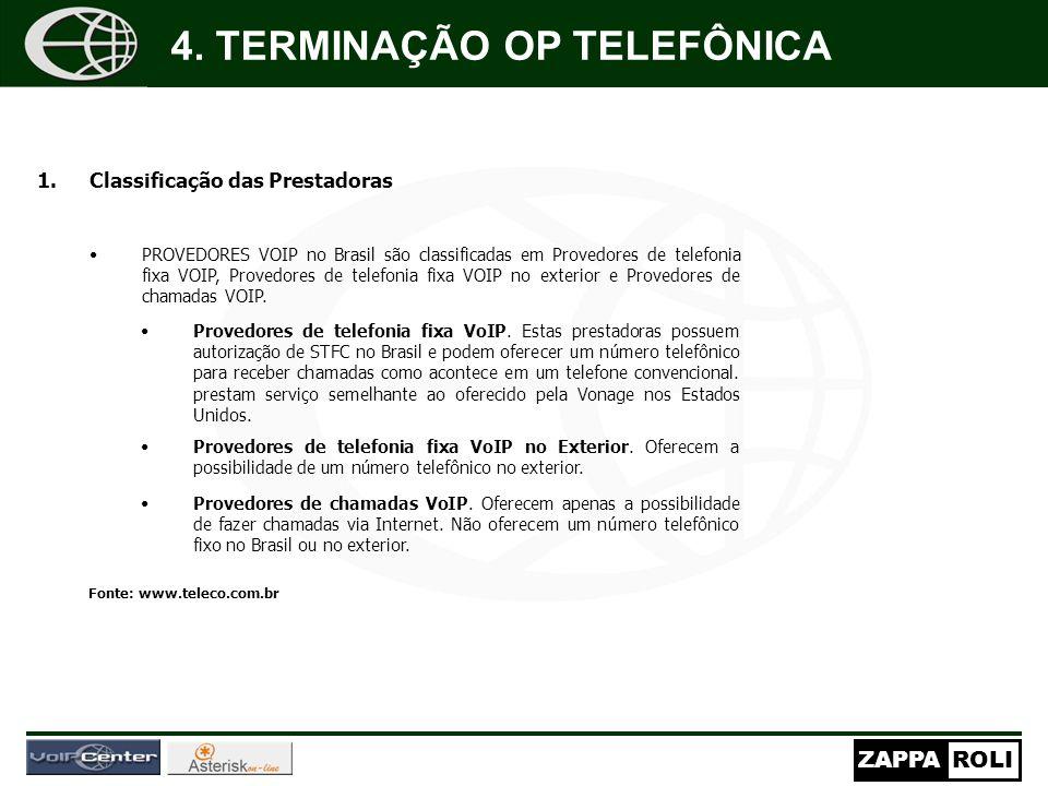 ZAPPAROLI 1.Classificação das Prestadoras PROVEDORES VOIP no Brasil são classificadas em Provedores de telefonia fixa VOIP, Provedores de telefonia fixa VOIP no exterior e Provedores de chamadas VOIP.