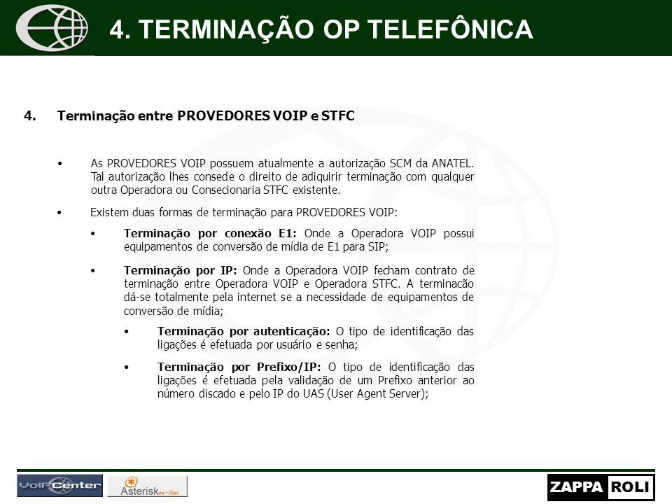 ZAPPAROLI 4.Terminação entre PROVEDORES VOIP e STFC As PROVEDORES VOIP possuem atualmente a autorização SCM da ANATEL.