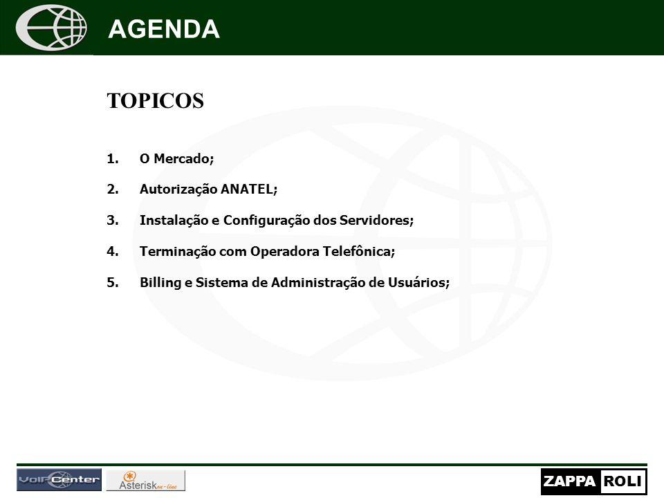 ZAPPAROLI TOPICOS 1.O Mercado; 2.Autorização ANATEL; 3.Instalação e Configuração dos Servidores; 4.Terminação com Operadora Telefônica; 5.Billing e Sistema de Administração de Usuários; AGENDA