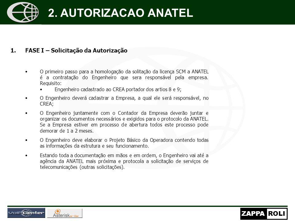 ZAPPAROLI 1.FASE I – Solicitação da Autorização O primeiro passo para a homologação da solitação da licença SCM a ANATEL é a contratação do Engenheiro