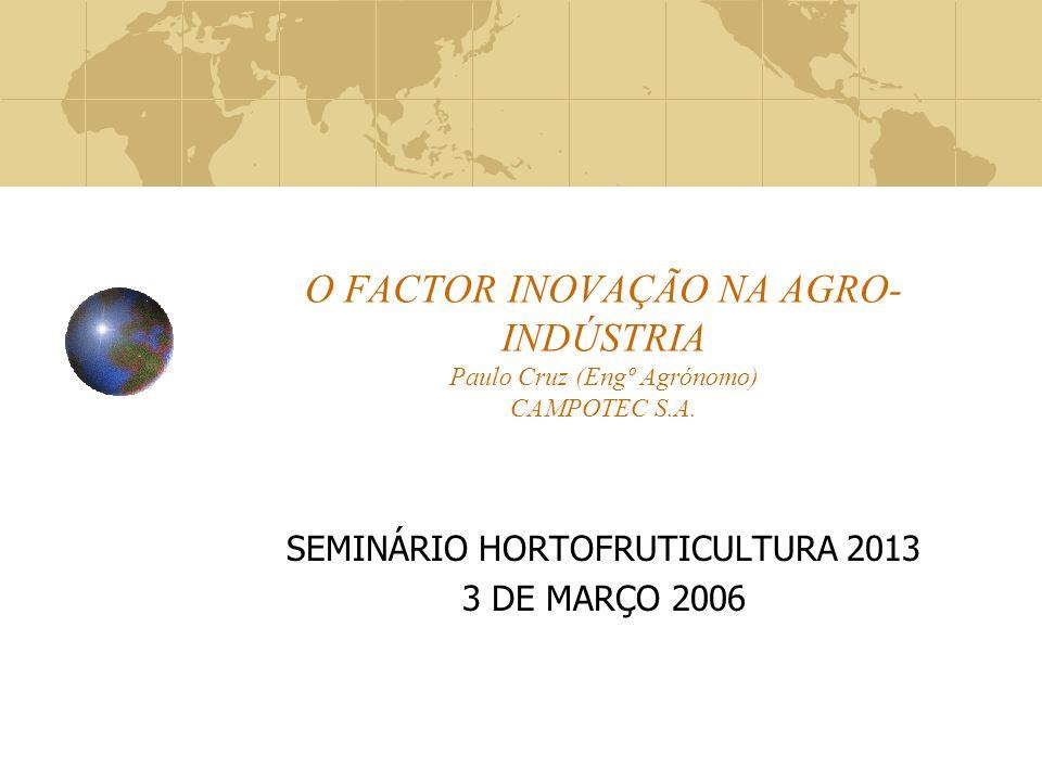 O FACTOR INOVAÇÃO NA AGRO- INDÚSTRIA Paulo Cruz (Engº Agrónomo) CAMPOTEC S.A.