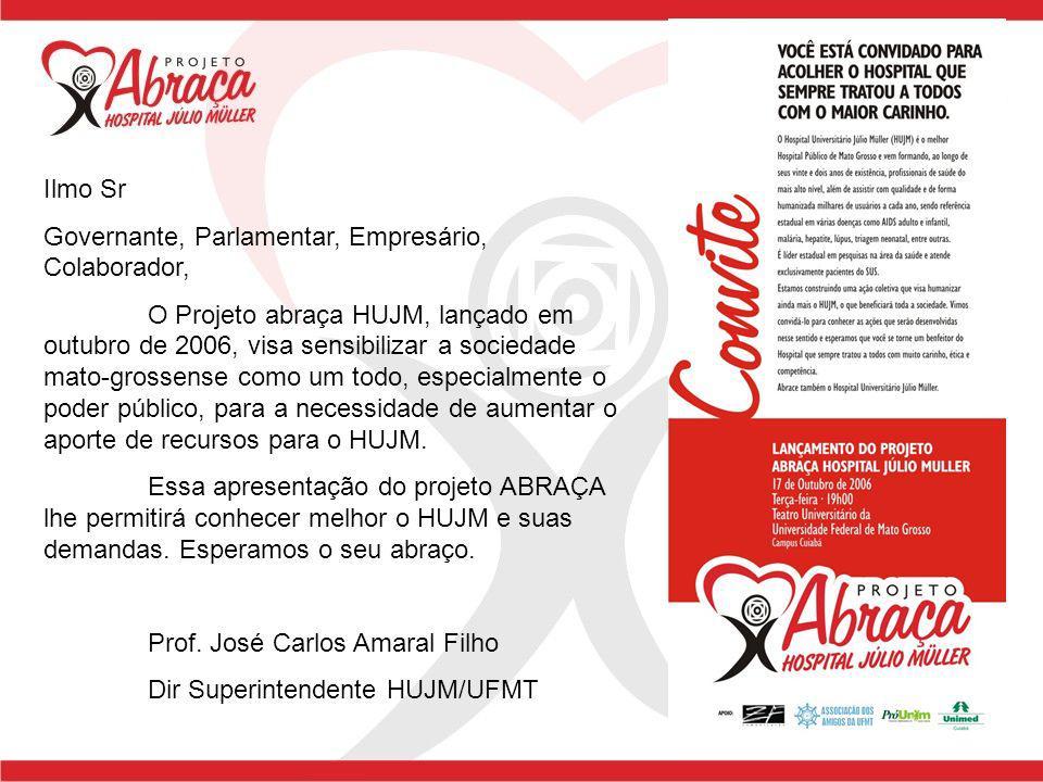 Ilmo Sr Governante, Parlamentar, Empresário, Colaborador, O Projeto abraça HUJM, lançado em outubro de 2006, visa sensibilizar a sociedade mato-grosse
