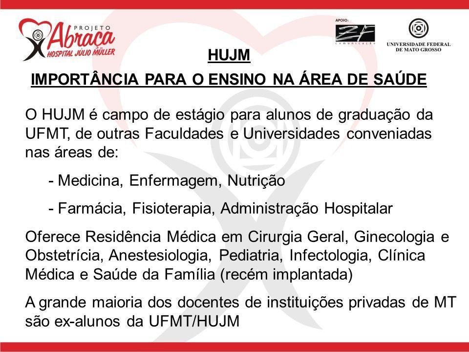 O HUJM é campo de estágio para alunos de graduação da UFMT, de outras Faculdades e Universidades conveniadas nas áreas de: - Medicina, Enfermagem, Nut