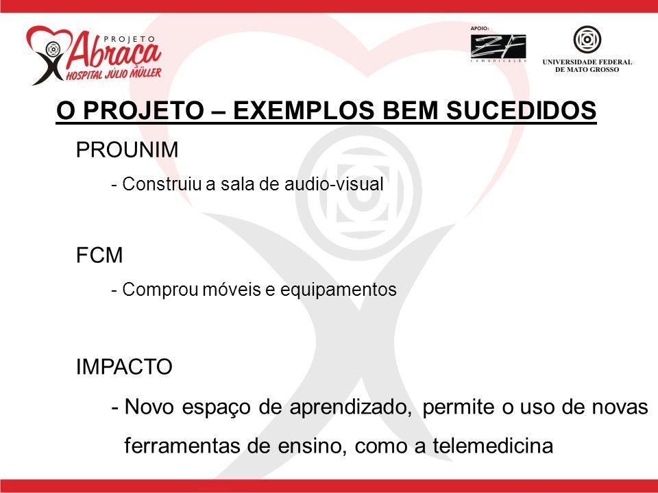 PROUNIM - Construiu a sala de audio-visual FCM - Comprou móveis e equipamentos IMPACTO - Novo espaço de aprendizado, permite o uso de novas ferramenta