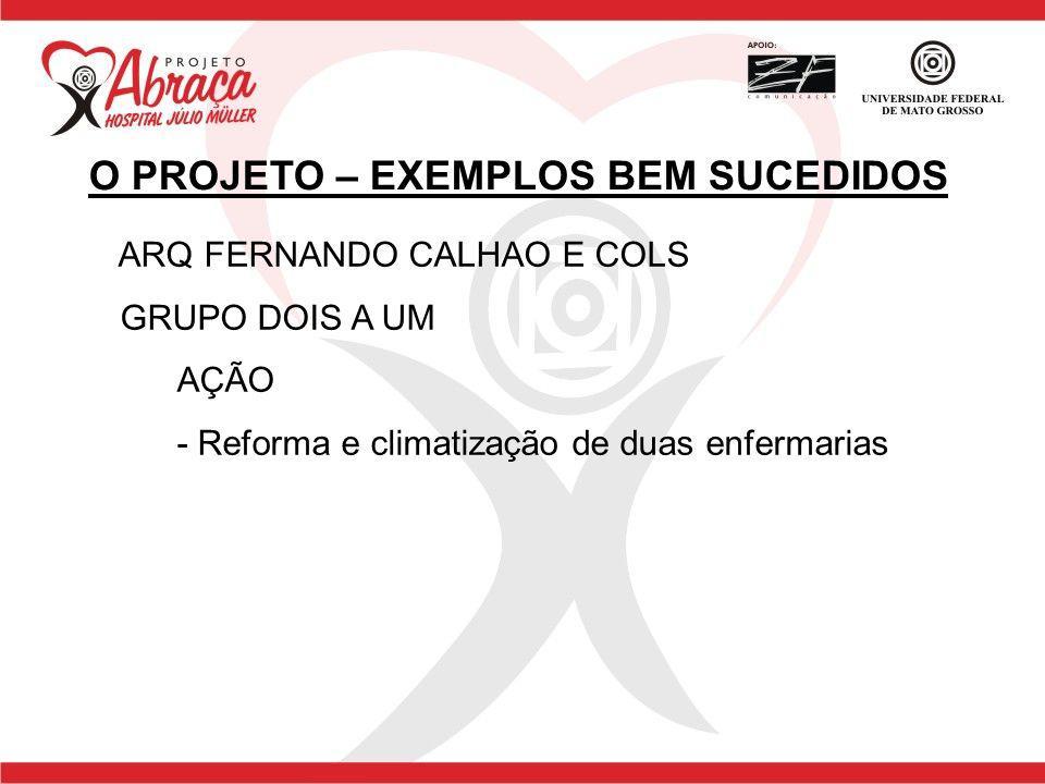 ARQ FERNANDO CALHAO E COLS GRUPO DOIS A UM AÇÃO - Reforma e climatização de duas enfermarias O PROJETO – EXEMPLOS BEM SUCEDIDOS
