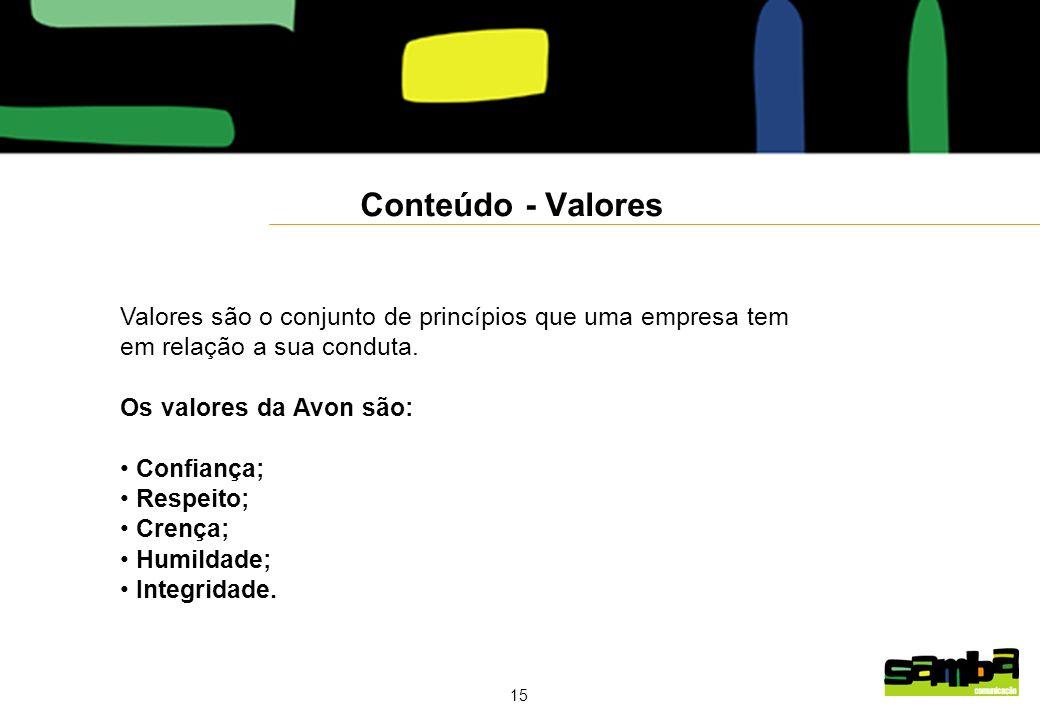 15 Conteúdo - Valores Valores são o conjunto de princípios que uma empresa tem em relação a sua conduta.