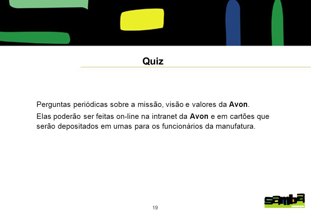 19 Quiz Perguntas periódicas sobre a missão, visão e valores da Avon.