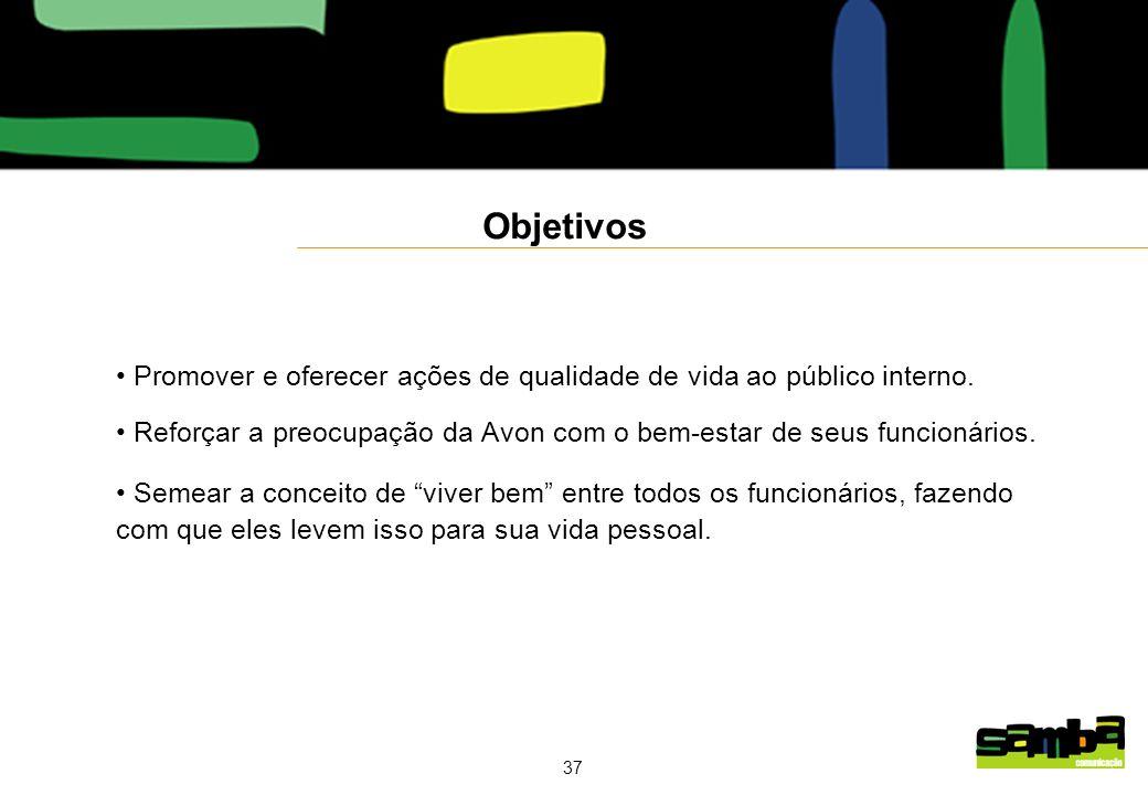 37 Objetivos Promover e oferecer ações de qualidade de vida ao público interno.