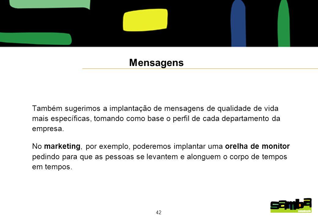 42 Mensagens Também sugerimos a implantação de mensagens de qualidade de vida mais específicas, tomando como base o perfil de cada departamento da empresa.