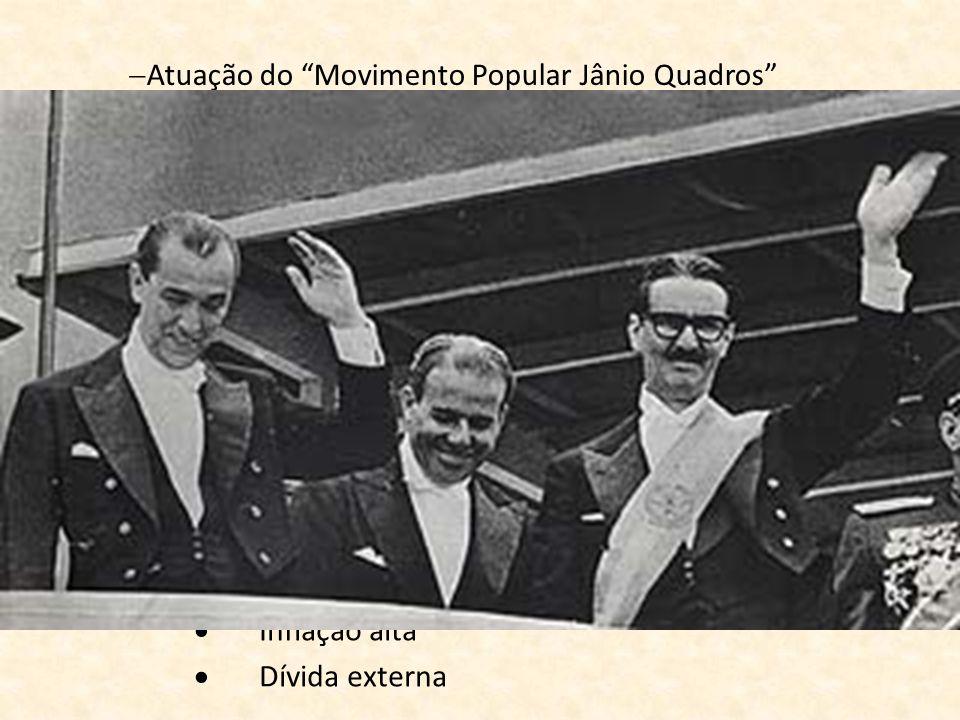 Atuação do Movimento Popular Jânio Quadros Apoio da UDN à Jânio Quadros União PTB/PSD Presidente marechal Lott (nacionalista) Vice João Goulart (Jango