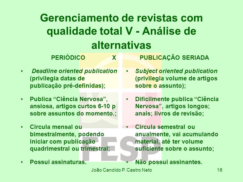 João Candido P. Castro Neto16 Gerenciamento de revistas com qualidade total V - Análise de alternativas PERIÓDICO X Deadline oriented publication (pri