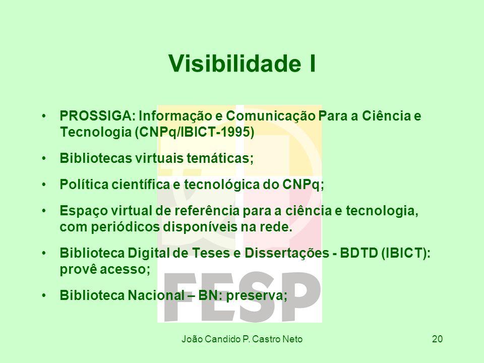 João Candido P. Castro Neto20 Visibilidade I PROSSIGA: Informação e Comunicação Para a Ciência e Tecnologia (CNPq/IBICT-1995) Bibliotecas virtuais tem
