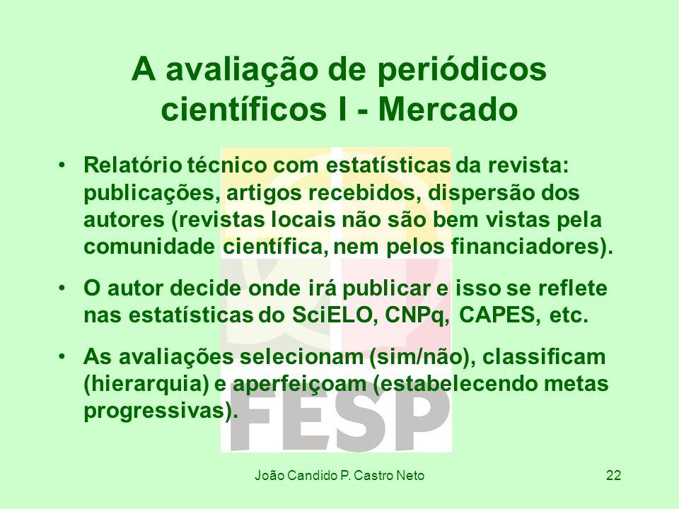 João Candido P. Castro Neto22 A avaliação de periódicos científicos I - Mercado Relatório técnico com estatísticas da revista: publicações, artigos re