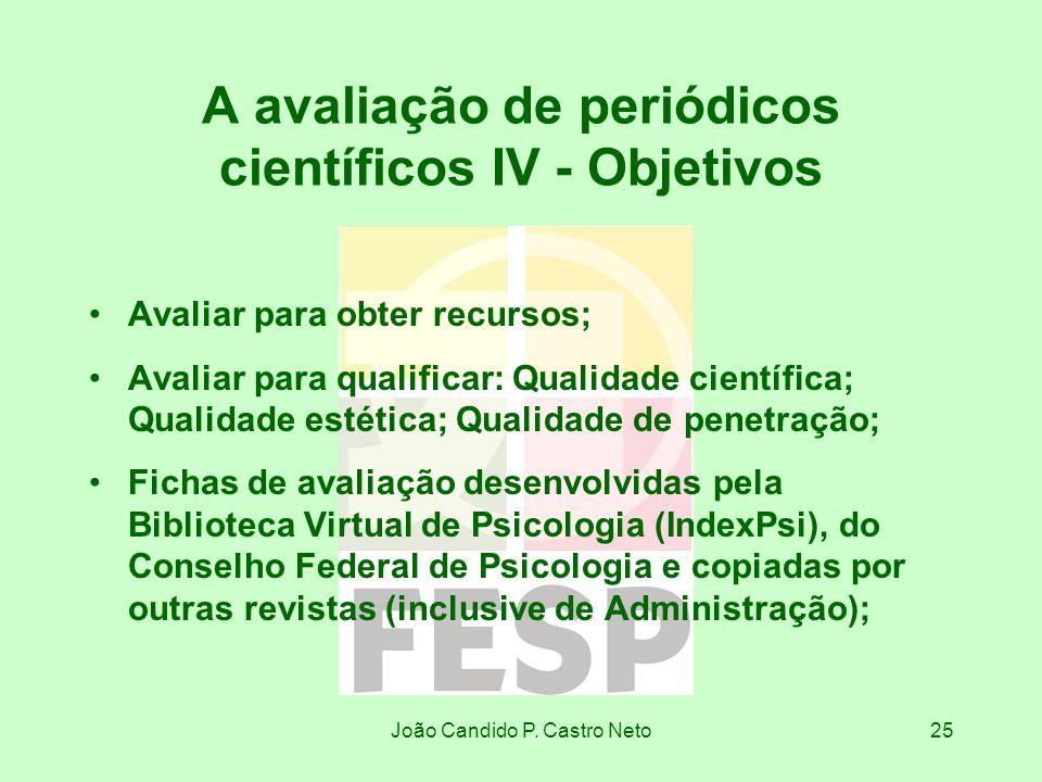 João Candido P. Castro Neto25 A avaliação de periódicos científicos IV - Objetivos Avaliar para obter recursos; Avaliar para qualificar: Qualidade cie