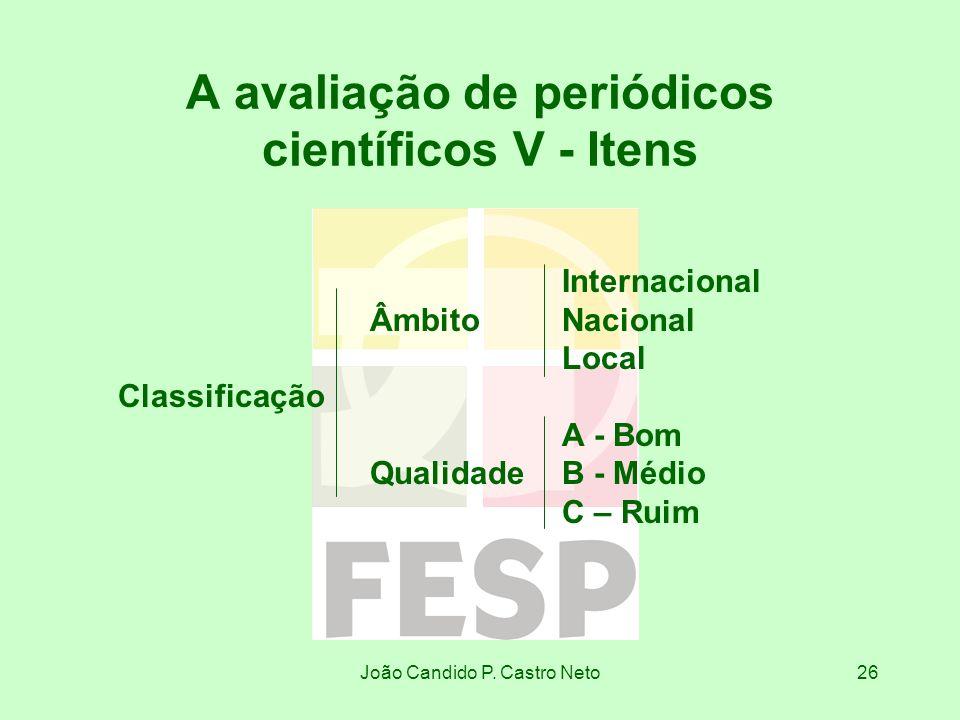 João Candido P. Castro Neto26 A avaliação de periódicos científicos V - Itens Internacional ÂmbitoNacional Local Classificação A - Bom QualidadeB - Mé