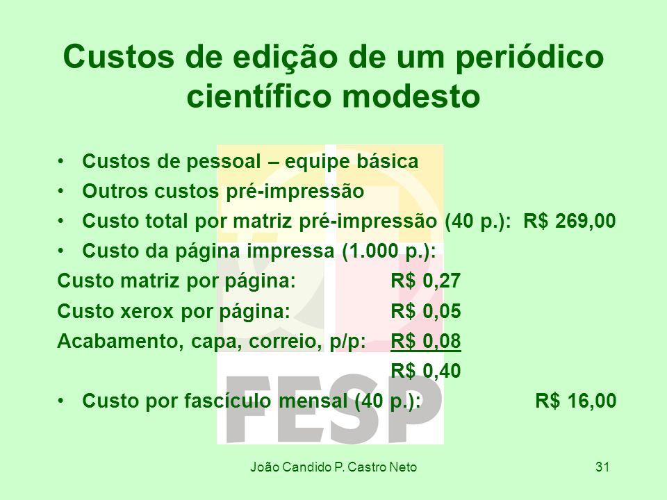 João Candido P. Castro Neto31 Custos de edição de um periódico científico modesto Custos de pessoal – equipe básica Outros custos pré-impressão Custo