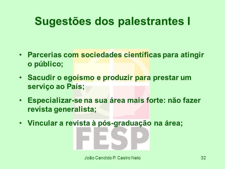 João Candido P. Castro Neto32 Sugestões dos palestrantes I Parcerias com sociedades científicas para atingir o público; Sacudir o egoísmo e produzir p