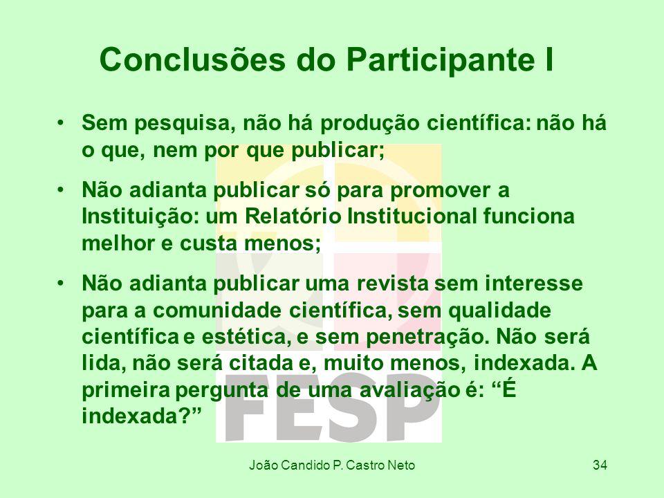 João Candido P. Castro Neto34 Conclusões do Participante I Sem pesquisa, não há produção científica: não há o que, nem por que publicar; Não adianta p