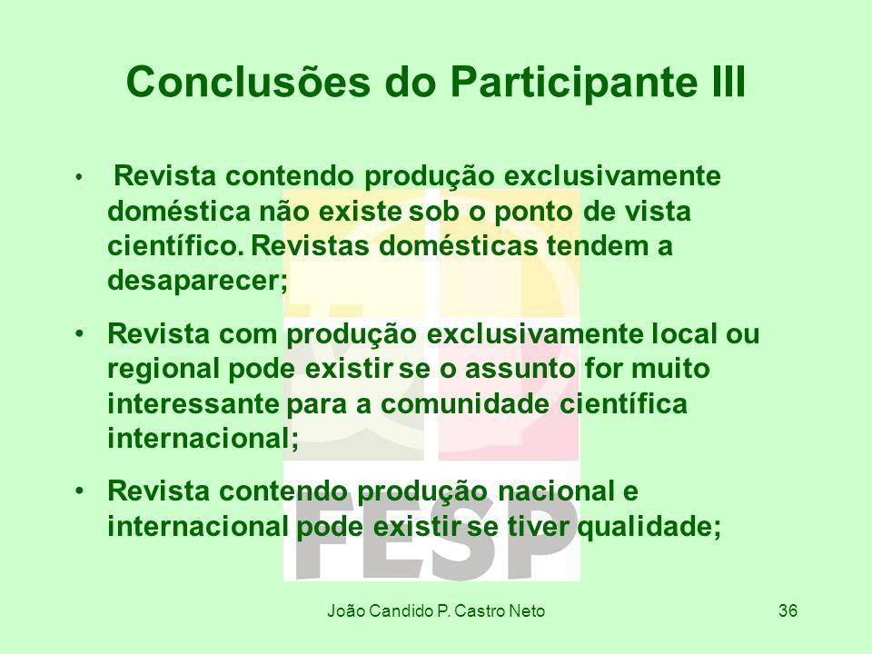 João Candido P. Castro Neto36 Conclusões do Participante III Revista contendo produção exclusivamente doméstica não existe sob o ponto de vista cientí