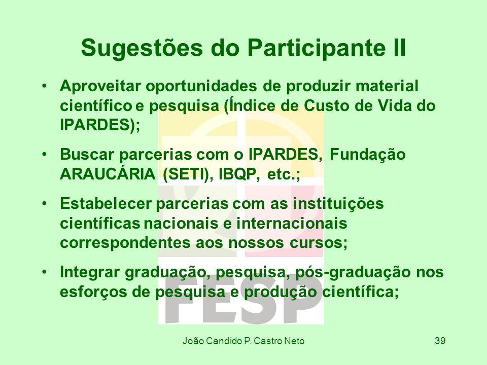 João Candido P. Castro Neto39 Sugestões do Participante II Aproveitar oportunidades de produzir material científico e pesquisa (Índice de Custo de Vid