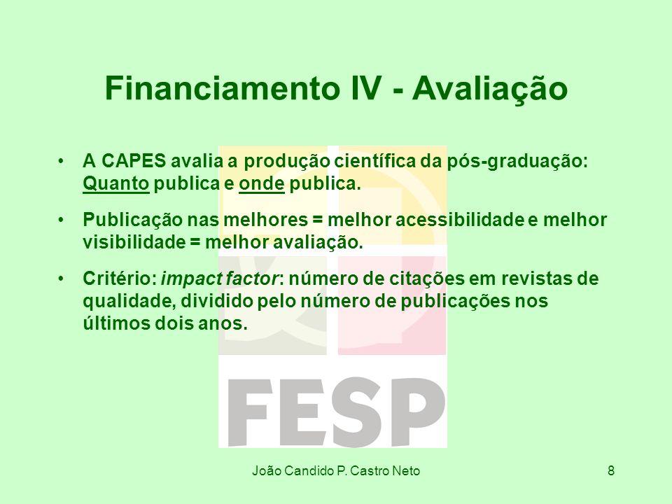 João Candido P. Castro Neto8 Financiamento IV - Avaliação A CAPES avalia a produção científica da pós-graduação: Quanto publica e onde publica. Public