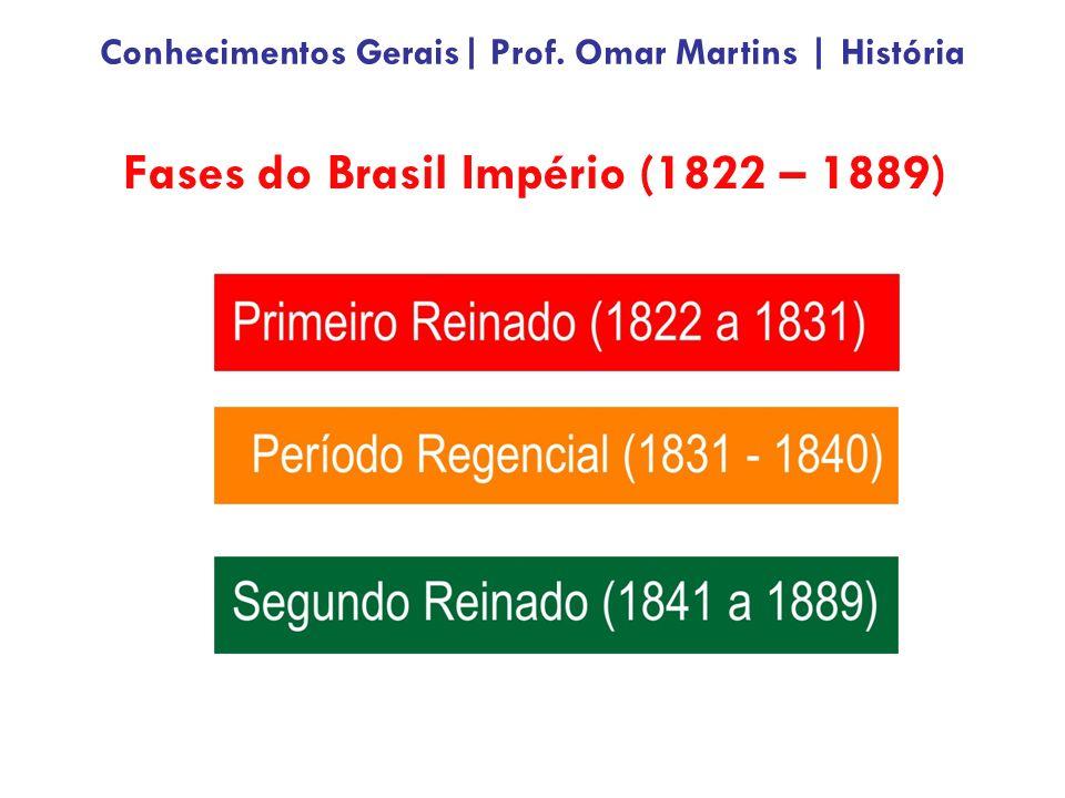 Fases do Brasil Império (1822 – 1889) Conhecimentos Gerais| Prof. Omar Martins | História