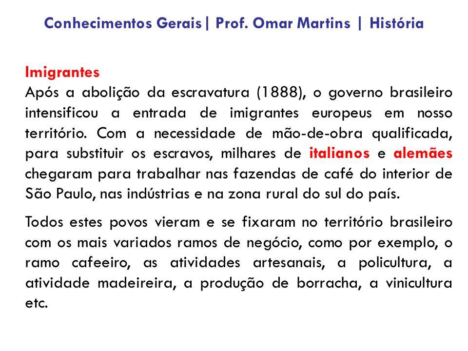 Imigrantes Após a abolição da escravatura (1888), o governo brasileiro intensificou a entrada de imigrantes europeus em nosso território. Com a necess
