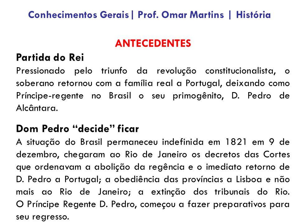 ANTECEDENTES Partida do Rei Pressionado pelo triunfo da revolução constitucionalista, o soberano retornou com a família real a Portugal, deixando como