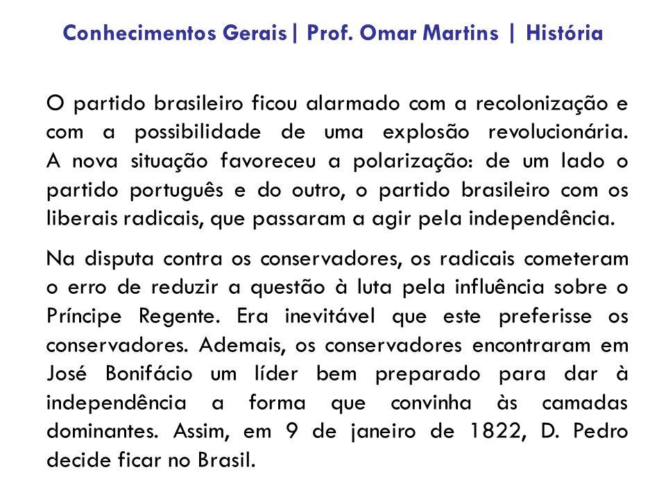 O partido brasileiro ficou alarmado com a recolonização e com a possibilidade de uma explosão revolucionária. A nova situação favoreceu a polarização: