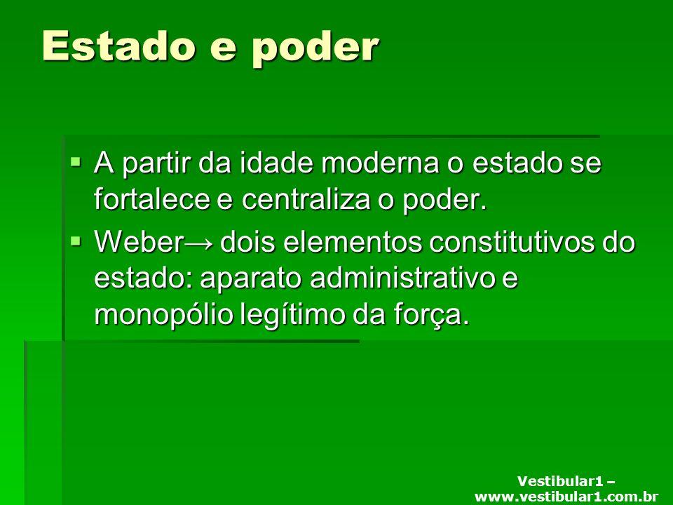 Vestibular1 – www.vestibular1.com.br Estado e poder A partir da idade moderna o estado se fortalece e centraliza o poder.