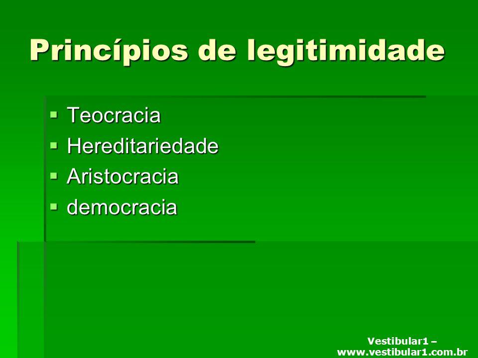Vestibular1 – www.vestibular1.com.br Princípios de legitimidade Teocracia Teocracia Hereditariedade Hereditariedade Aristocracia Aristocracia democracia democracia