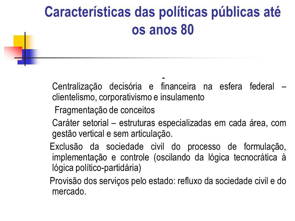 Características das políticas públicas até os anos 80 Centralização decisória e financeira na esfera federal – clientelismo, corporativismo e insulame
