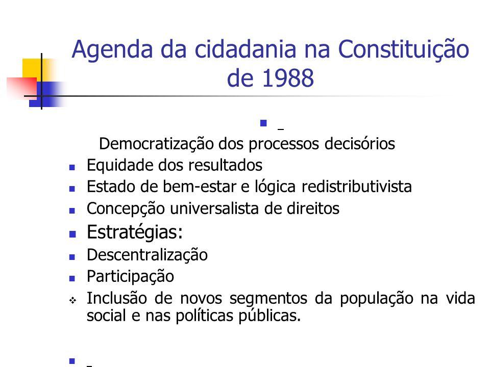 Agenda da cidadania na Constituição de 1988 Democratização dos processos decisórios Equidade dos resultados Estado de bem-estar e lógica redistributiv