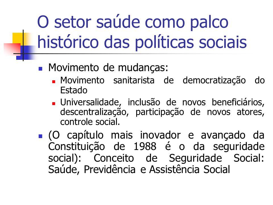 O setor saúde como palco histórico das políticas sociais Movimento de mudanças: Movimento sanitarista de democratização do Estado Universalidade, incl