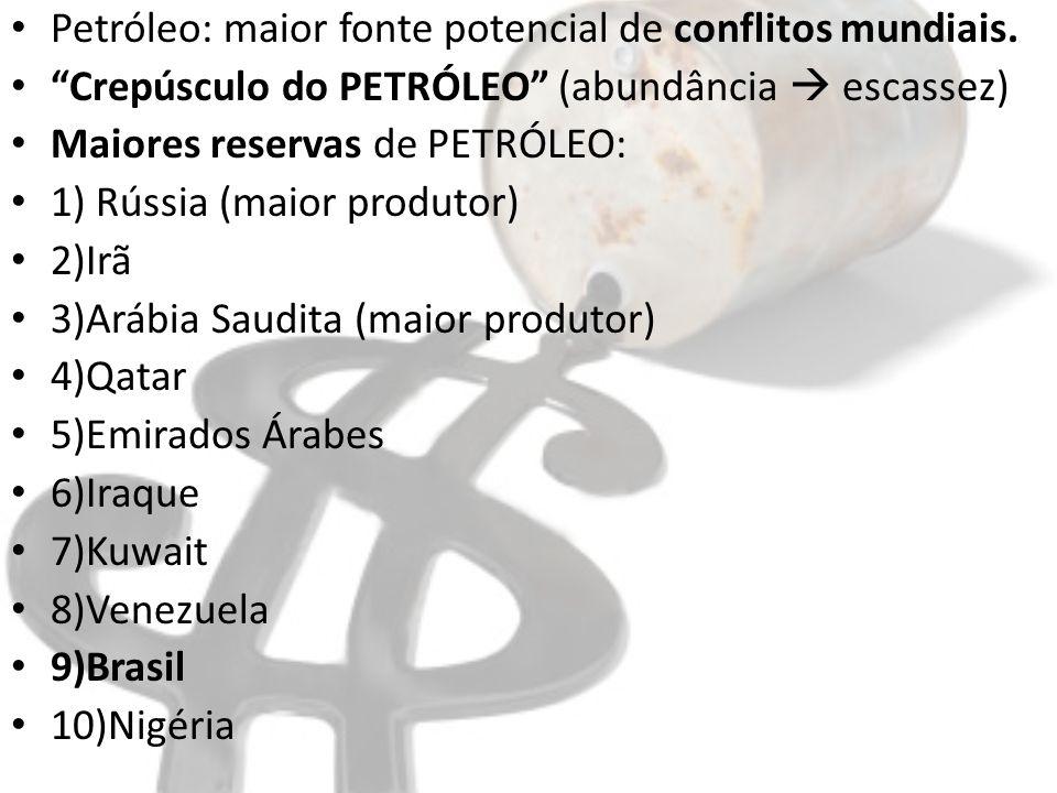 Petróleo: maior fonte potencial de conflitos mundiais. Crepúsculo do PETRÓLEO (abundância escassez) Maiores reservas de PETRÓLEO: 1) Rússia (maior pro