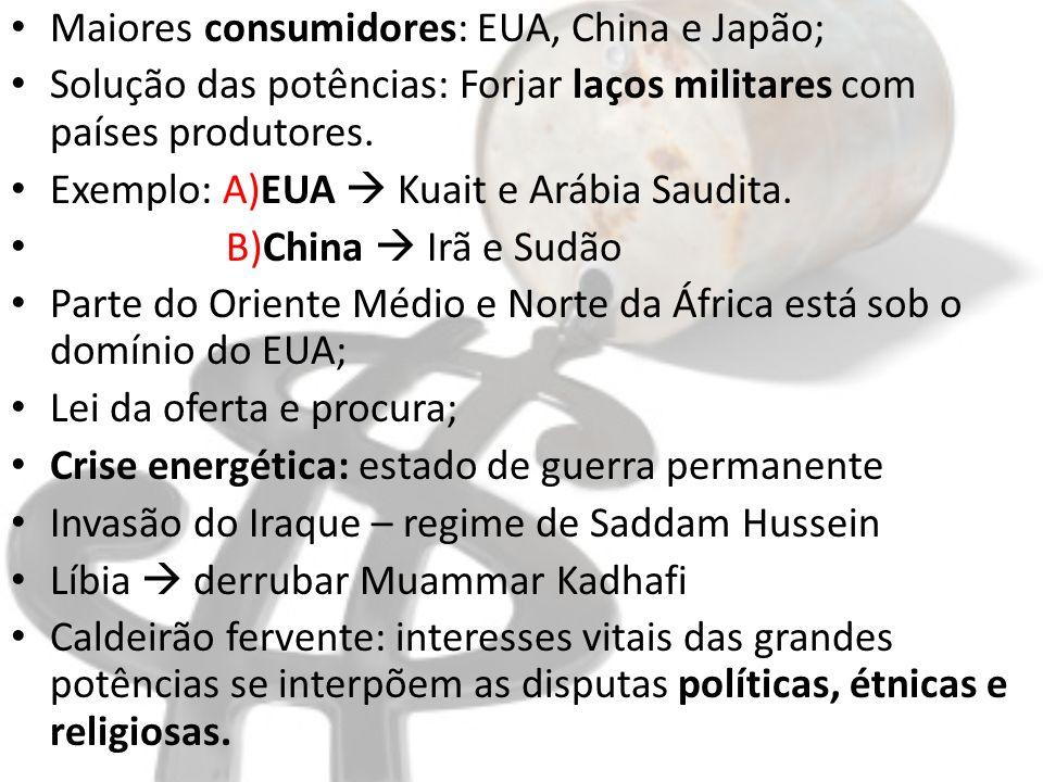 Maiores consumidores: EUA, China e Japão; Solução das potências: Forjar laços militares com países produtores. Exemplo: A)EUA Kuait e Arábia Saudita.