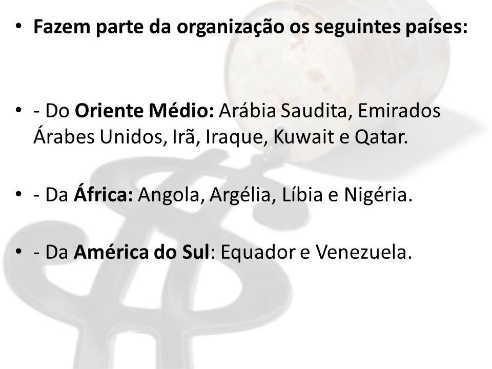 Fazem parte da organização os seguintes países: - Do Oriente Médio: Arábia Saudita, Emirados Árabes Unidos, Irã, Iraque, Kuwait e Qatar.